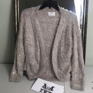 Zara girls knitwear tan open sweater Sz 11-12